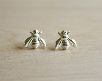 Bee Earrings, Available in Matte or Antiqued Silver