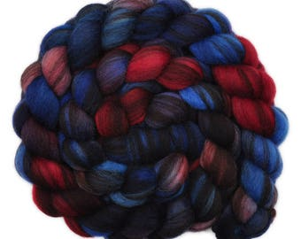 Hand painted roving - Corriedale Humbug wool spinning fiber - 4.1 ounces -  Royal Marine 2