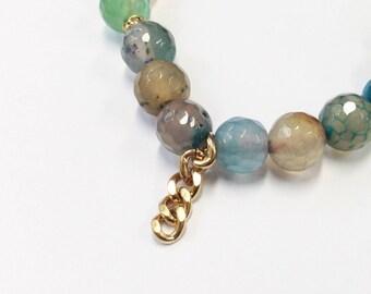 Elastic Beaded Bracelet, Beaded Bracelet, Friendship Bracelet, Stacking Bracelet, Blues and Greens Bracelet, Gift, Present, Brass Chain