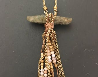 Earthy stone and handmade tassel necklace