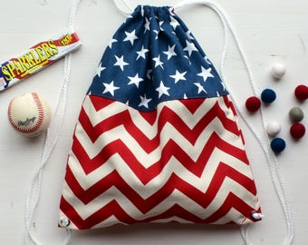 Stars and Chevron Drawstring Backpack- Adult size
