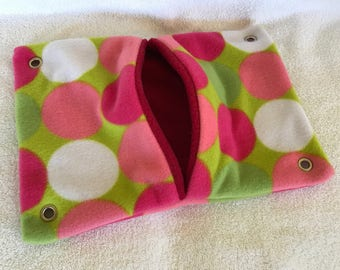 """9""""x14"""" Pocket Hammock for Pet Rats, Sugar Gliders - All Retro Polka Dots with Red Interior - Won't Fray When Chewed!"""
