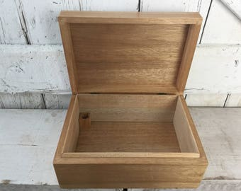 Wooden box with lid vintage oak storage box