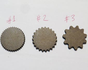 25 pcs  of 32mm- or 25mm Gear Shaped Miniature bases - gaming miniature-laser MDF