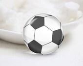 Soccer Ball Photo Glass Cabochons (P3844)