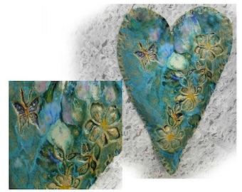 Original heart - one of a kind heart - OOAK heart - ceramic wall heart -  large unique wall heart - blue heart -    # 170