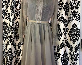 1950's Grey Sheer Long sleeve Dress