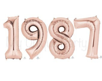 "1987 Numbers Large Rose Gold Numbers 34"" Mylar Set of 4 Number Balloons New Rose Gold Jumbo 34 inch Balloons 30th Birthday 30th Anniversary"