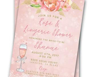 Rosé and Lingerie Party Invitation Gold Blush Bachelorette Party 5x7 Invitation Lingerie Bras and Bubbly Rose Lingerie Shower Bridal Shower