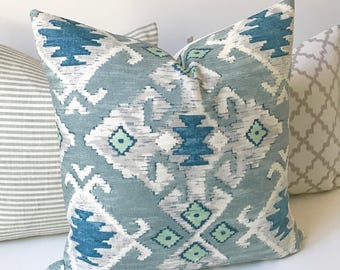 Southwestern Ikat decorative pillow cover, spa blue, mint green and gray pillow