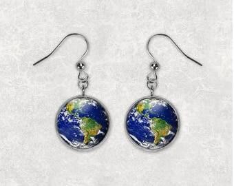 Planet Earth Earrings World Earrings Planet Earrings E96