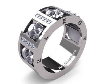 Mens Avant Garde 14K White Gold Channel Set Princess Diamond Skull Wedding Ring R413P-14KWGD