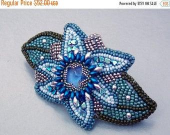 Summer sale Bead Embroidery,  Barrette,  Seed bead jewelry,Floral jewelery, Swarovski jewelry, Swarovski,  Blue, Steel, Green, Hair clip