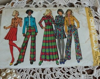 Retro Simplicity Casual Clothing Pattern UNCUT - Vintage Size 12 Misses Skirt + Pants Printed Paper Pattern, # 5198, Pleated Maxi/Mini Skirt