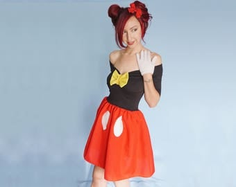 Mickey Mouse Dress - Disneybound Dress - Red Black Dress - Adult Dress - Mickey Dress - Pin Up Dress - Mickey Costume