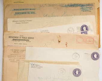 Vintage, Envelopes, Assorted Mid Century, Old Mailing Envelopes, Shipping, Postage, Handwriting