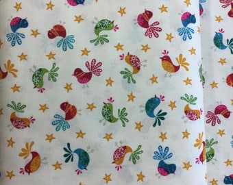 Makeower 1232 Cool Yule Birds 100% Cotton Fabric by the Half Metre