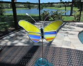 Multi Colors Butterfly Plant Stake in Cobalt Yellow, Blue, Red, and White -  Unique Gift Idea/Memorial Marker/ Garden Marker