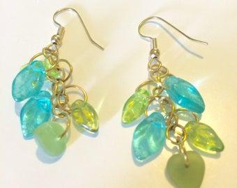 Leaf Earrings Blue/Green