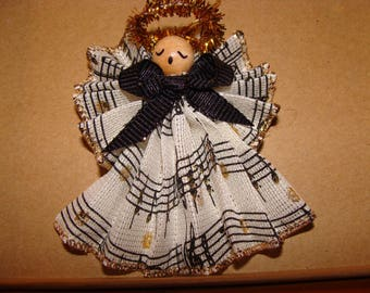"Angel in Musical Print, 3"" Handmade Ornament"