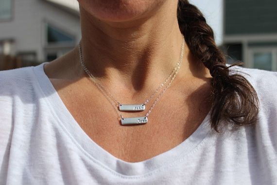 Gift for Mother, Bar Necklace, Child Name Necklace, Name Silver Bar Necklace, Mom Silver Bar, Names of Children Necklace, Layer Necklace