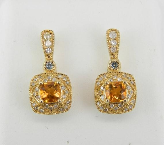 14K Gold Yellow Sapphire Diamond Blue Topaz Earrings Wedding Gift Cushion Cut