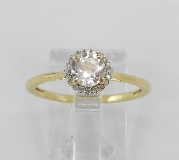 Yellow Gold Diamond and Round White Topaz Halo Engagement Promise Ring Size 7