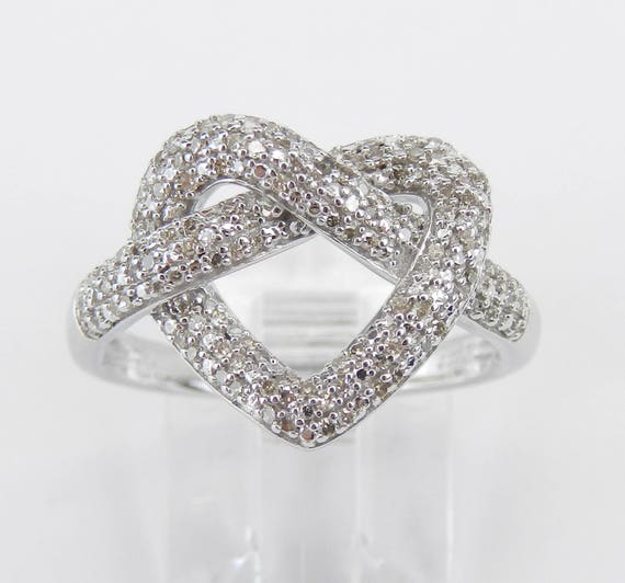 White Gold Diamond Heart Cluster Cocktail Ring Size 7 Pretzel Twist Ring