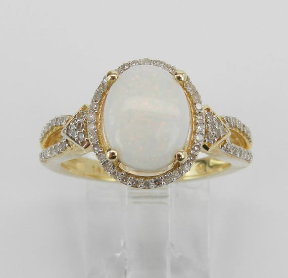 14K Yellow Gold Diamond and Opal Halo Engagement Ring Size 7.25 October Gemstone