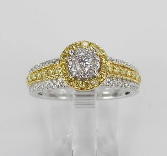 White Yellow Gold Diamond Halo Engagement Ring Size 6.75 Fancy Canary Design