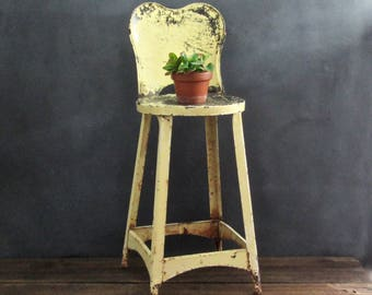 Vintage Metal Stool, Child's Kitchen Chair, Farmhouse Kitchen, Dining, or Kids Room Decor