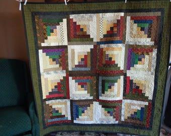Log cabin quilt, scrappy quilt, Lap quilt 0602-01