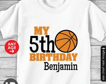 Basketball Birthday Shirt or Bodysuit - for ANY AGE  -- Personalized Basketball Shirt with Child's Age and Name