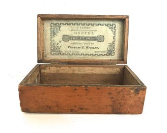 Vintage soap store countertop display wooden box rare & shabby chic condition