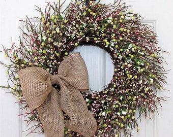 Farmhouse Decor - Spring Wreath - Pink Green & White Berry Wreath - Wedding Wreath - Summer Berry Wreath - Shabby Chic - Pip Berry Wreath