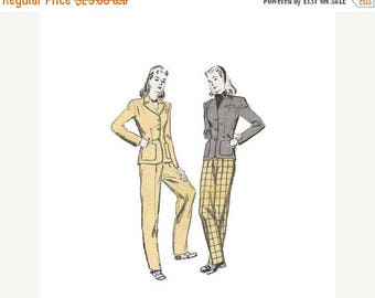 ON SALE 1940s Tailored Jacket and Slim Tapered Slacks Butterick 2901 Womens High Waist Pant Suit Size 14 Bust 32 Vintage Sewing Pattern