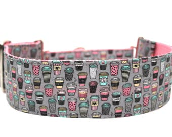 "Coffee Dog Collar 2"" wide Martingale Dog Collar for Large Breed Dogs Coffee Cup Dog Collar"