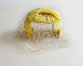 Vintage Yellow Bow Headband Hat Bridal