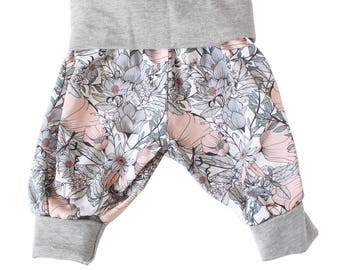 Baby girl Harem pants, organic baby pants, baby girl pants featuring original print
