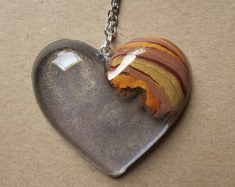 Shimmering Love Wood Heart Necklace Pendant