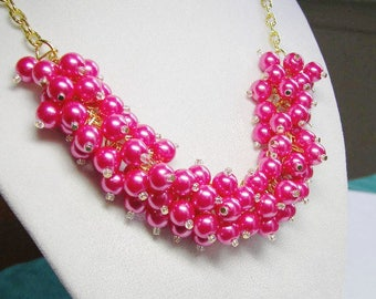 Hot Pink Pearl Cluster Necklace, Chunky Hot Pink Pearl Necklace, Bridesmaid Jewelry, Resort Jewelry, Wedding Jewelry, Hot Summer Jewelry