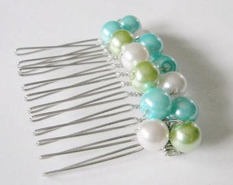 Lime Green Turquoise and White Pearl Hair Comb, Pearl Hair Clip, Bridesmaid Hair Comb,  Wedding Hair Accessories, Pearl Hair Jewelry
