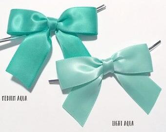 12 AQUA - Light or Medium - Pre-made Bow Embellishments
