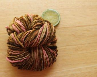Chocolate Cupcake - Brown Pink Merino Wool Worsted Weight Handspun Yarn Hand Dyed