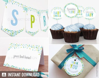 Baby Sprinkle Party Pack - Boy Baby Shower - Sprinkles - INSTANT DOWNLOAD - Printable PDF with Editable Text (BB03)