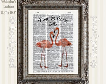 Flamingos in Love with Names & Date Vintage Upcycled Dictionary Art Print Book Art Print Anniversary Wedding Custom Tropical Art Print