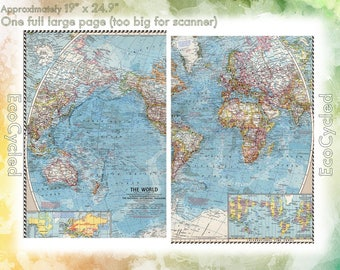 Vintage Atlas Map 1960 The World National Geographic Map antique full color Map Paper Ephemera Historical world atlas large 19 x 25 Inch NG1