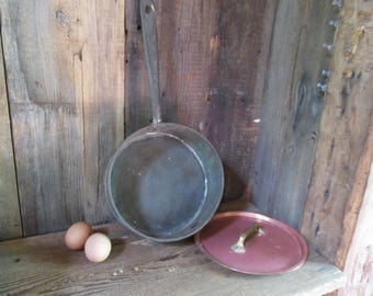 Primitive tin and copper pan with copper lid ~ Jebediah cobbled this together for his future wife