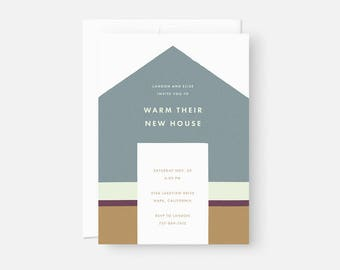 Custom Housewarming Invitation / Minimalist Invite Design / Modern Party Invitation / Muted Blue, Gold, and Purple / Flat , 5x7, A7