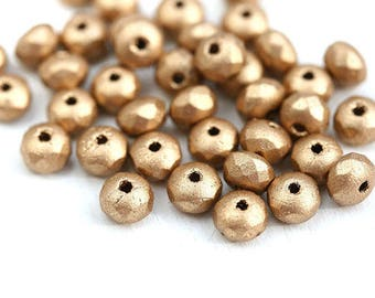 4x7mm Golden rondelle beads, Matte Gold czech glass rondel beads, gemstone cut, fire polished, faceted - 25pc - 1222